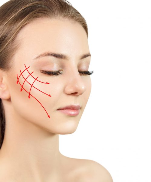 Young,Woman,With,Arrows,On,Face.,Lifting,Arrows,Showing,Facial